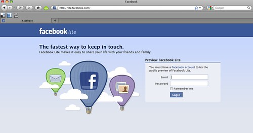 The new Welcome/Login Page to Facebook Lite