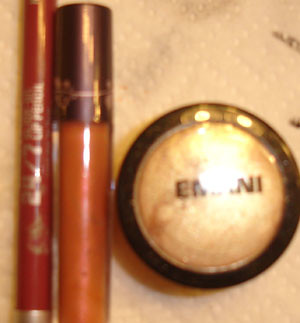Urban Decay 24/7 Lipliner in Naked, Tarte lipgloss, EMANI eyeshadow
