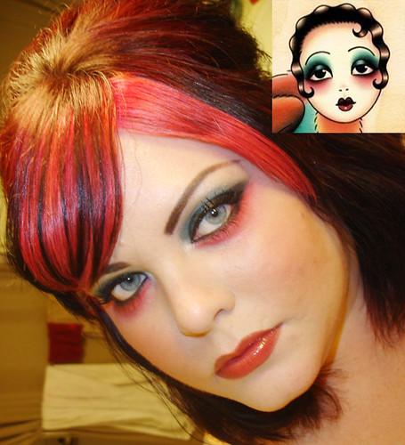 Blue and Red eyeshadow look