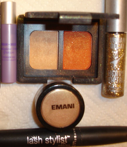 Products: Urban Decay Primer Potion, NARS Mediteranee, EMANI 167, Urban Decay Heavy Metal Glitter Liner, Maybelline Lash Stylist