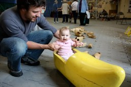 Chloe in wooden clog boat
