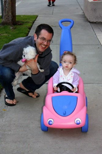 Maddie, Daddy, Rigby, and Maddie's new car