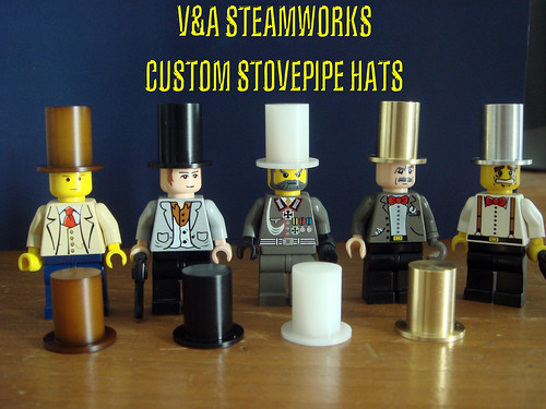 LEGO steampunk minifigs with custom stovepipe hats
