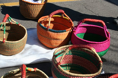 Ghanian baskets for sale at the Scottsdale Farmer's Market