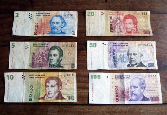 Argentinean pesos, banknotes, bills