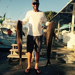 Capt. Manny and Chris with a nice pair of Cobia's on the Spellbound #spellbound #deepseafishingmiami