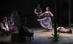 (Center) Amanda Peet (Maggie Anderson) in the Funeral Dance with the cast of Brigadoon, produced by Music Circus at the Wells Fargo Pavilion August 5-10, 2014. Photos by Charr Crail.