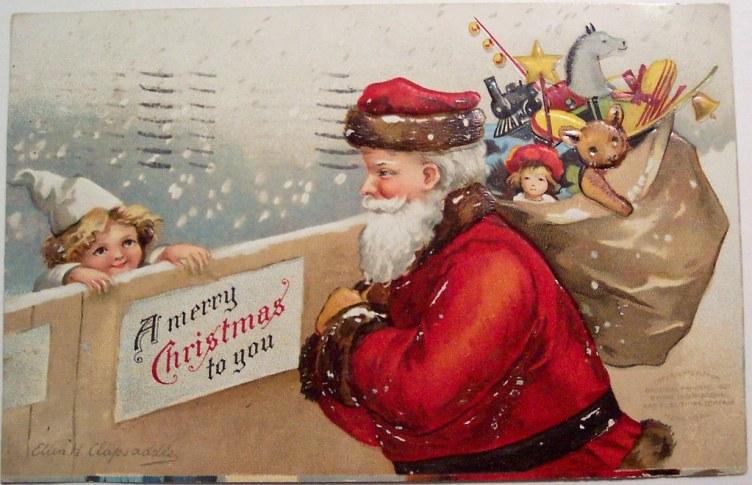 Vintage Christmas Postcard - Santa