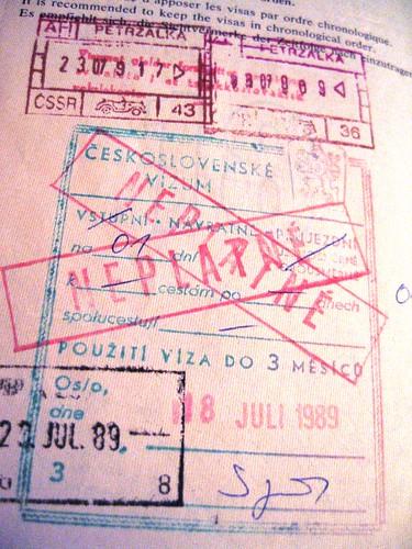 Czechoslovakia passport stamp, 1989