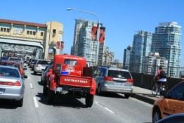 Red Truck on the Burrard St. Bridge