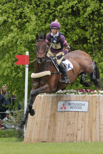 Ginny Howe and Cavort at the Sunken Lane during the cross-country phase of Badminton Horse Trials 2009.