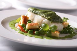 basil crusted sablefish with fresh peas and house-made gnocchi