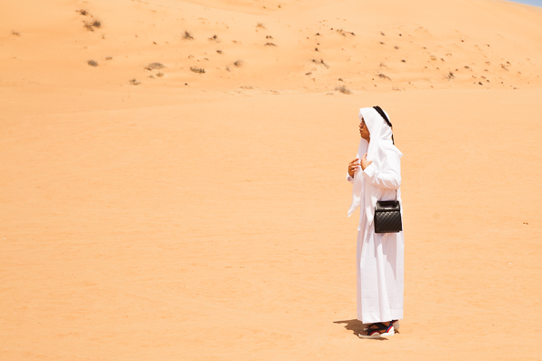 Bryanboy in a traditionl kandora in Dubai