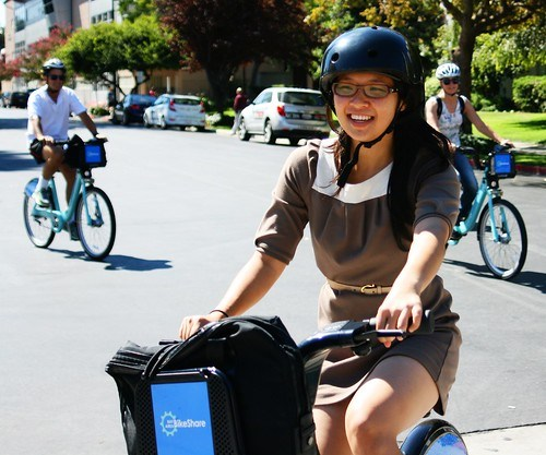 Bike Share launch passing through SJSU campus