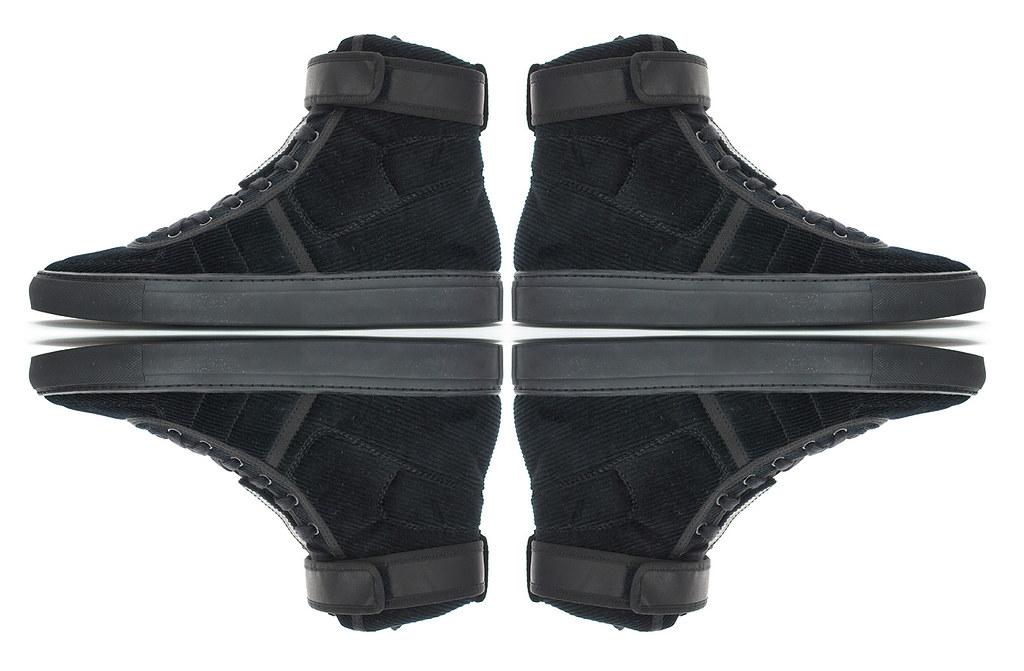 """Raf Simons """"Vandal"""" Sneakers in Corduroy Black."""