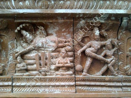 Exquisite wooden carvings, Temple Chariot. Appakudathan Temple, Koviladi