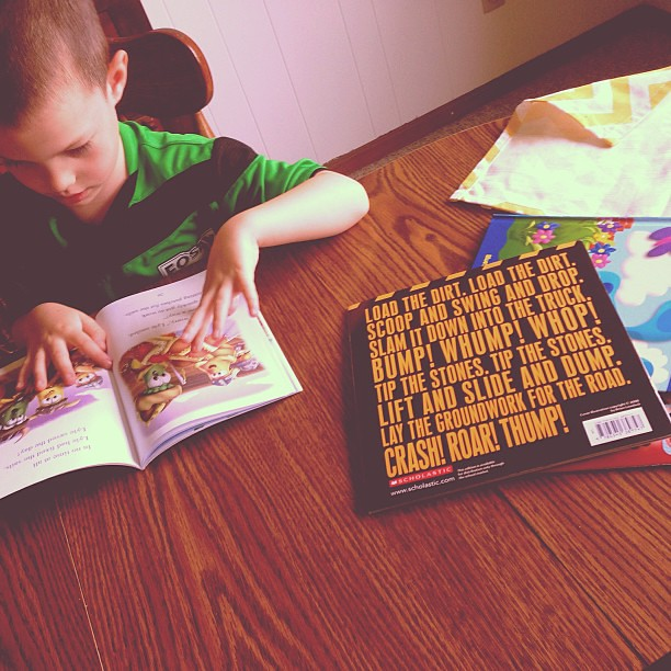 LB's reading time today. Life is good. #raisingreaders