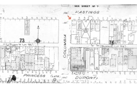 Portion of 1901 Fire Insurance map showing Hastings and Columbia, 1901 (COV Archives - Map 384)