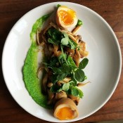 A favourite plate from dinner at Pidgin on Friday night: mushrooms, snap peas, soy yuzu brown butter @pidginyvr.