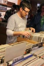 Browsing vinyl at Zulu Records