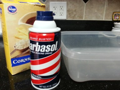 The ingredients are pretty simple: corn starch, shaving cream and a container to mix them in.