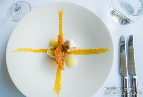 Berowra waters inn Amuse bouche: smoked eel & lemon jelly