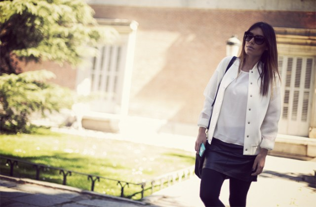 street style barbara crespo white bomber cyprea zara fashion blogger outfit blog de moda