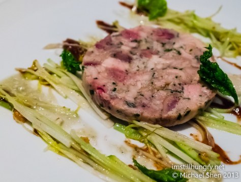 Foveaux Rabbit terrine, raisin, roquefort w/salad of walnut, endives, apple & celery