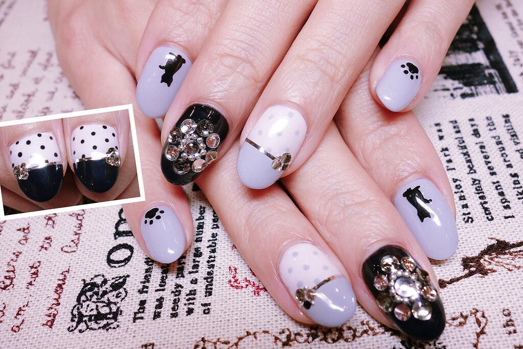 黑白经典光疗指甲