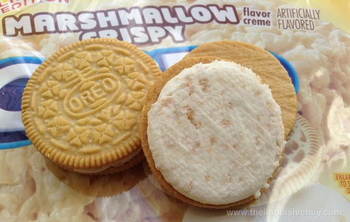 Nabisco Limited Edition Marshmallow Crispy Oreo Cookies Closeup
