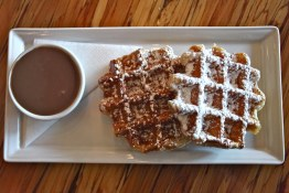 Cafe Medina Belgian Waffles with Lavender Milk Chocolate Sauce