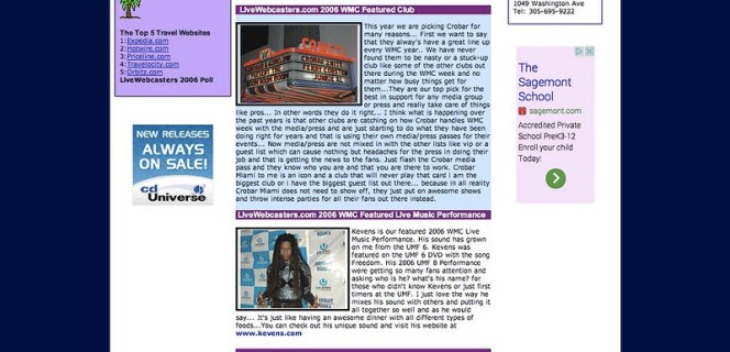 UMF 8 - WMC - Winter Music Conference 2006 - The 2006 WMC and Ultra Music Festival Review Guide - UM South Beach Miami - Get Club Tickets - Concert Tickets - CD_s, Concert DVD_s and The UltraFest DVD.