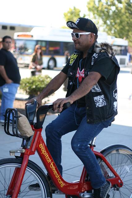 Bike share bike demo at Caltrain Diridon Station