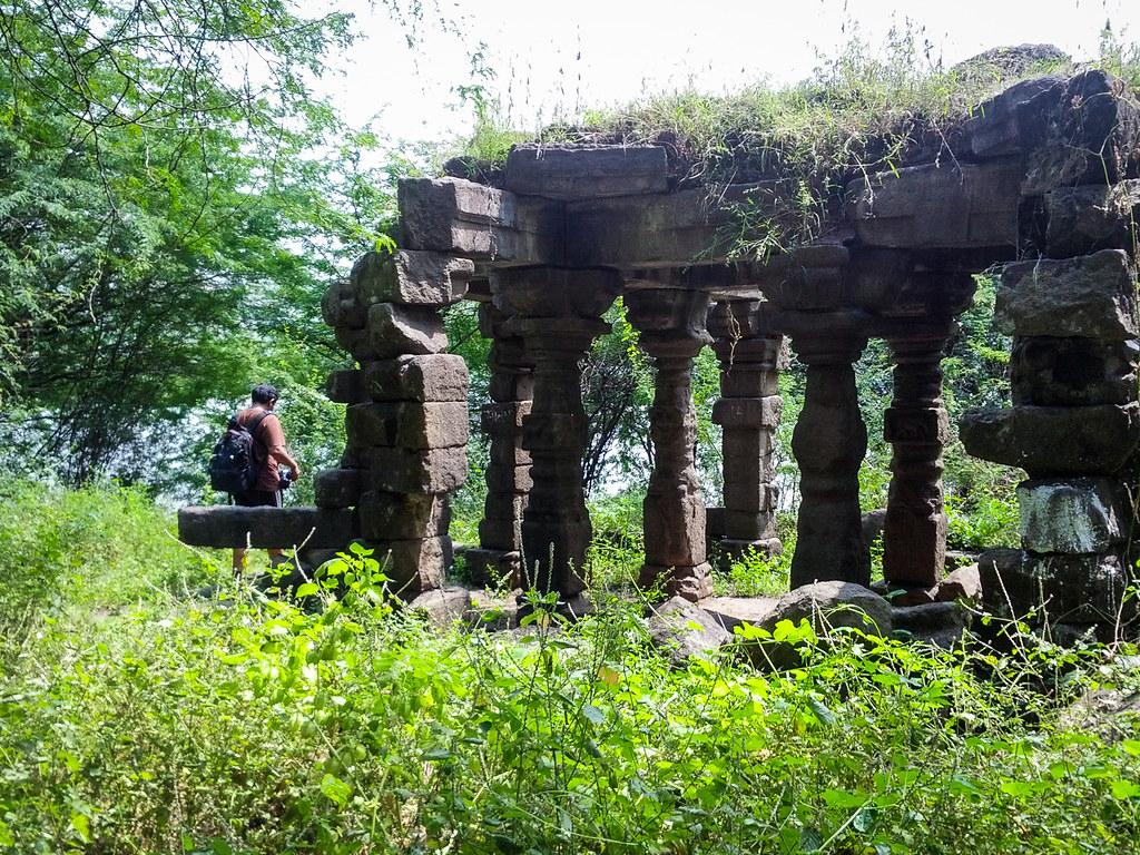 Lovell entering temple ruins at the Lonar lake