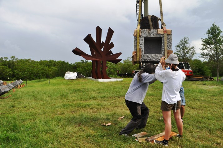 Sculpture Being Installed at the Peace River Botanical & Sculpture Garden, June 2014