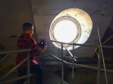 Andrew framing up an oculus inside the dome
