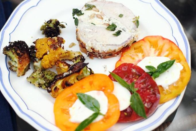 Sunday Dinner: Stuffed Pork Loin with Caprese and Roasted Broccoli