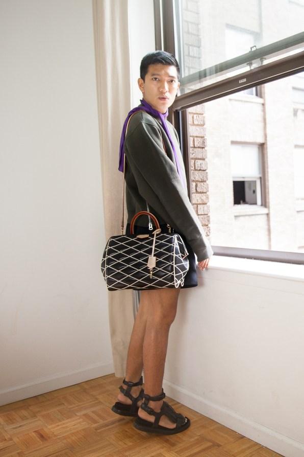 Fall Winter 2014 Louis Vuitton Malletage Doc Speedy PM bag worn by Bryanboy