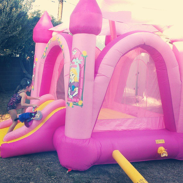 Found the box with the bouncy castle! That only took six months! First time using it at the new house. :-)