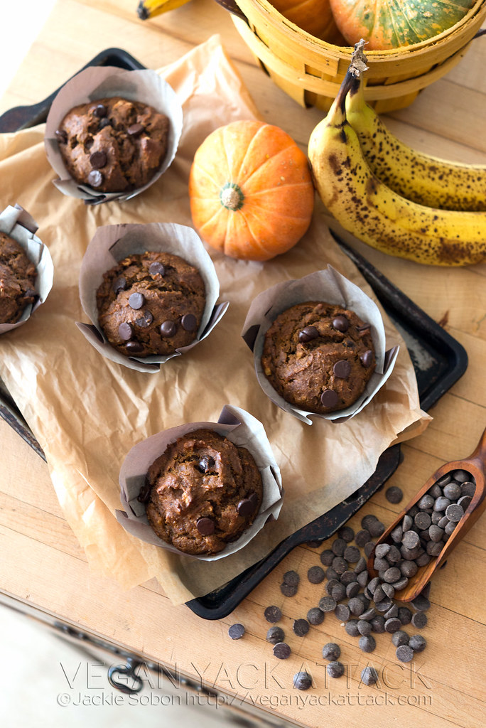 Super moist pumpkin banana nut muffins with sweet chocolate chips. Perfect for fall! Dairy-free, egg-free, soy-free and vegan.