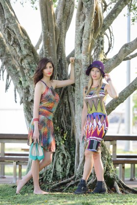 Sara wearing Sunny Top and Skate Skirt and Silvana wearing a Sheath Dress from Wild Sugar by Sajeela.