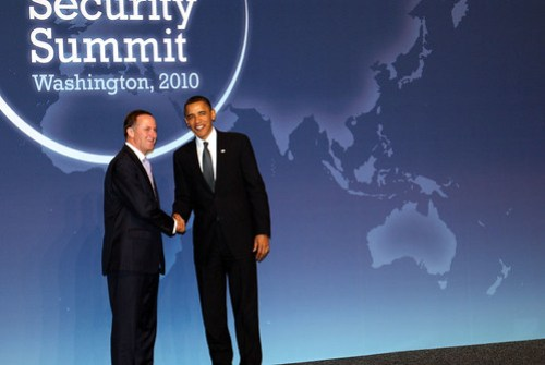 President Obama greets Prime Minister John Key of New Zealand yesterday on the first day of the Nuclear Security Summit in Washington, D.C.  Photo by New Zealand National Party.