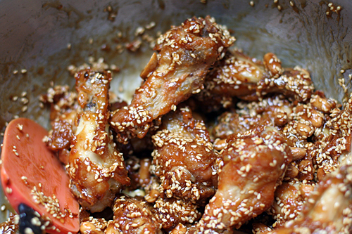 finished sweet and sour chicken wings