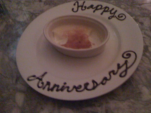 ...and @joliesbistro suprised with a happy anniversary creme broulee!! It was nom nom nom!! Thanks for a great anniversary dinner!!!