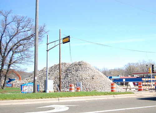 Big piles of rocks at the end of Monona Drive