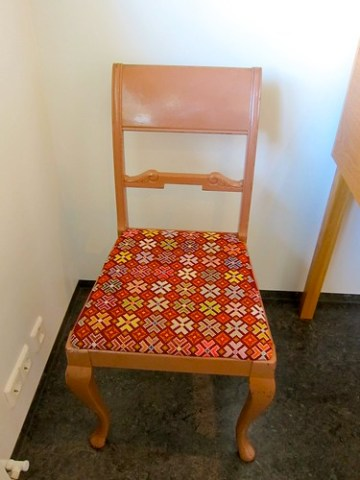 Embroidered chair seat