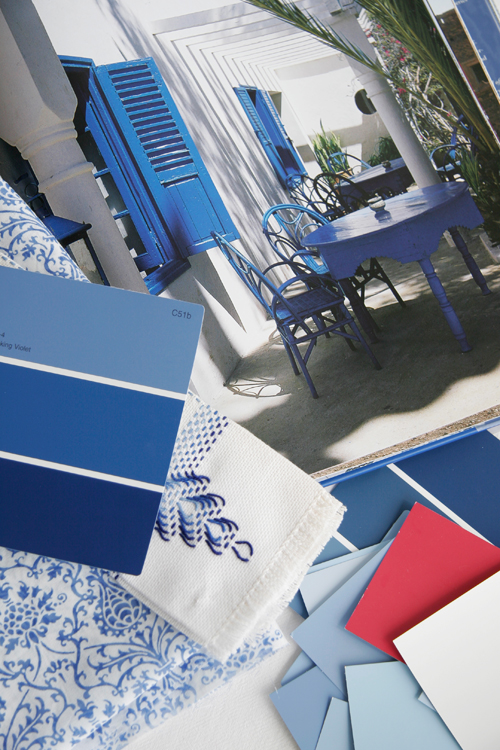 Mediterranean Blue, Red + White