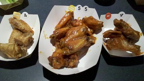 my wings: buffalo dry rub left, medium middle, hot right