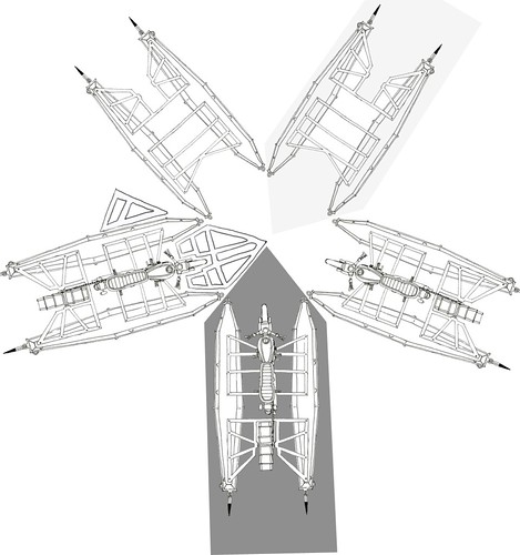 Diagram of 5 interlocking boatercycles