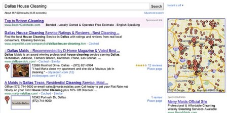 New Google Local Results - Dallas House Cleaning